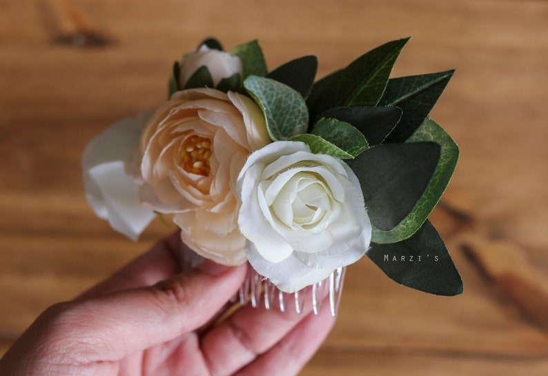 Bridal Flower CombPeonyRoseIvory Off WhiteSide /& Back Flower CombRomantic Wedding CombFloral HairpieceFloral Hair Comb