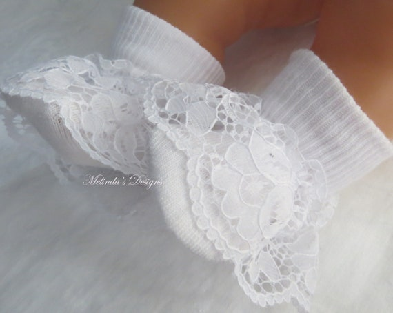 Frill Back Pants Lace Socks Baptism Knickers and Socks Set 0-6 Months Baby Girls Christening