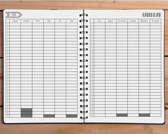 2018 Bullet Journal Yearly Calendar - Dotted Grid Paper