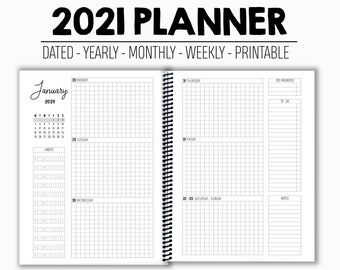 2021 Planner - Weekly - Monthly - Yearly - Dated - Printable - Monday Start