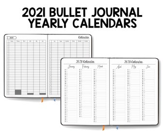 2021 Yearly Calendar - Bullet Journal - Planner - Printable