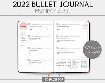 2022 Bullet Journal - 2022 Planner - Printable - Monday Start - Download - Dotted Grid - BUJO