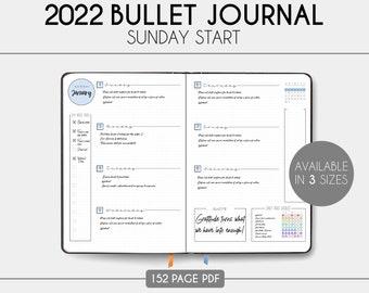 2022 Bullet Journal - 2022 Planner - Printable - Sunday Start - Download - Dotted Grid - BUJO
