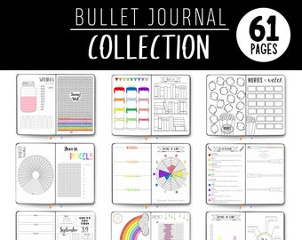 Bullet Journal - Printable Page Collection - Hand Drawn Style - Bundle - Printable Templates - BUJO - Dotted Grid