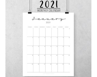 2021 Monochrome Calendar - Wall - Printable - Digital - Simple planner