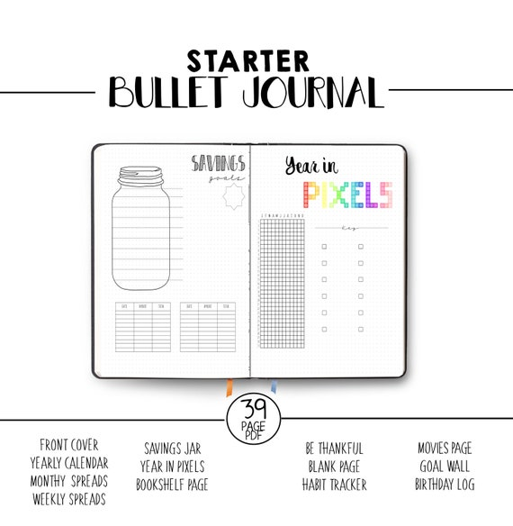 Bullet Journal Pages Printable Starter Journal Template Bujo Dotted Grid Savings Jar Year In Pixels Weekly Spread Calendar