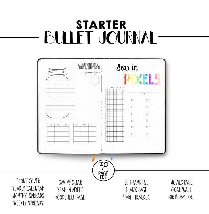 photo relating to Bullet Journal Printable named Bullet Magazine Web pages - Printable - Beginner Magazine - Template BUJO - Dotted Grid - Cost savings Jar - Calendar year in just Pixels - Weekly Distribute - Calendar