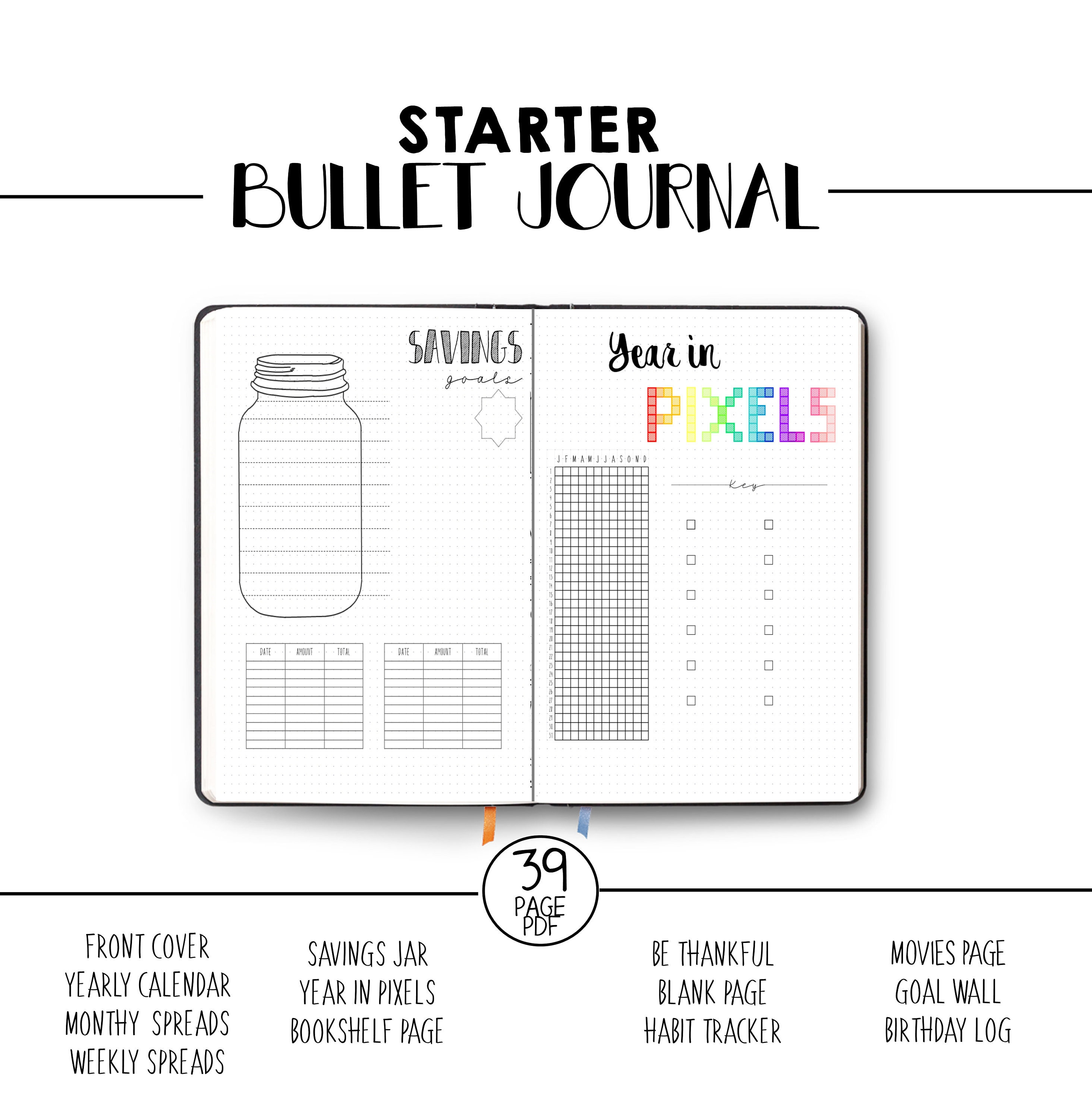 This is a graphic of Adaptable Bullet Journal Template