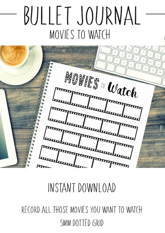 bullet journal movie list movies to watch film list