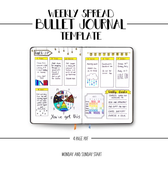 image about Weekly Journal Template identify Bullet Magazine Weekly Unfold Template - BUJO Printable Planner