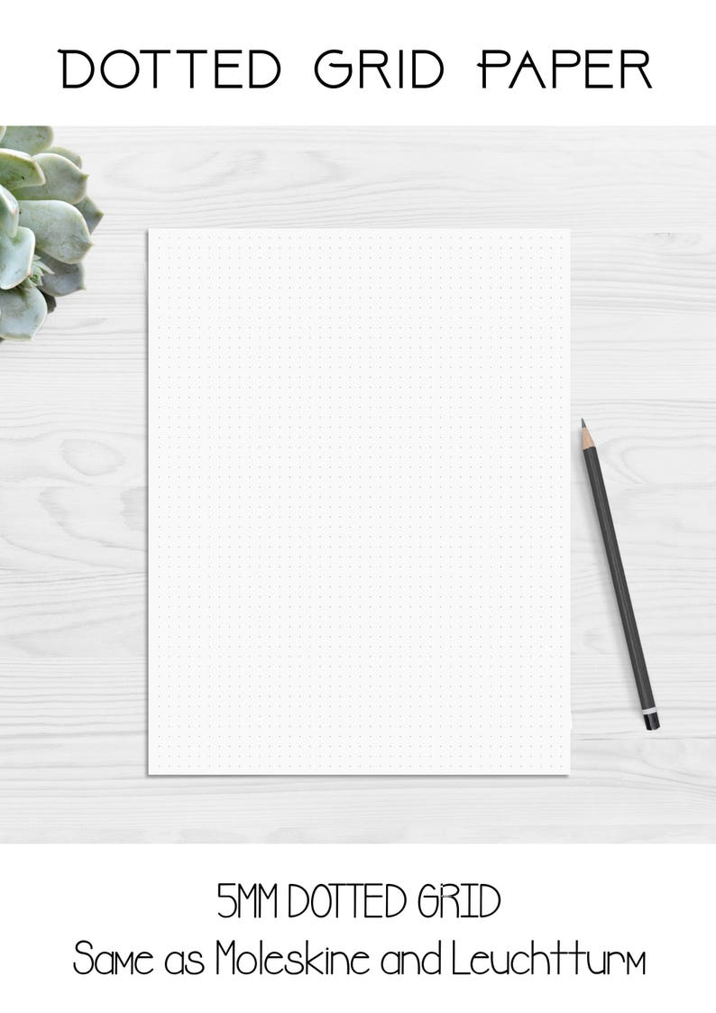 photograph relating to Printable Stencil Paper referred to as Dotted Grid Template Paper Printable- 5mm - Moleskine - Leuchtturm - Bullet Magazine BUJO Paper