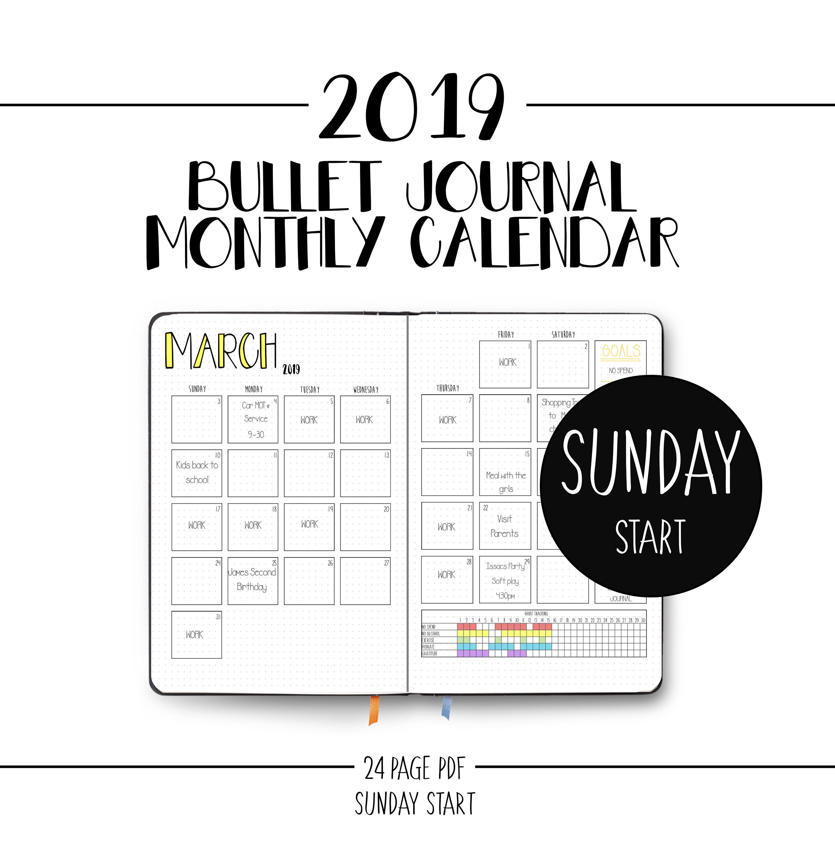 picture relating to Monthly Planner Template identify 2019 Calendar Bullet Magazine - Sunday Start out - Month-to-month Planner - Template - Printable Down load