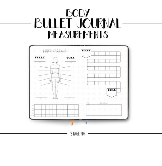 bullet journal body measurement template goal tracker weight loss health fitness