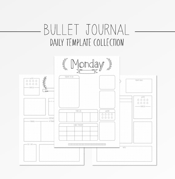 photo relating to Printable Journal Templates known as Bullet Magazine Templates Day-to-day Unfold BUJO Printable