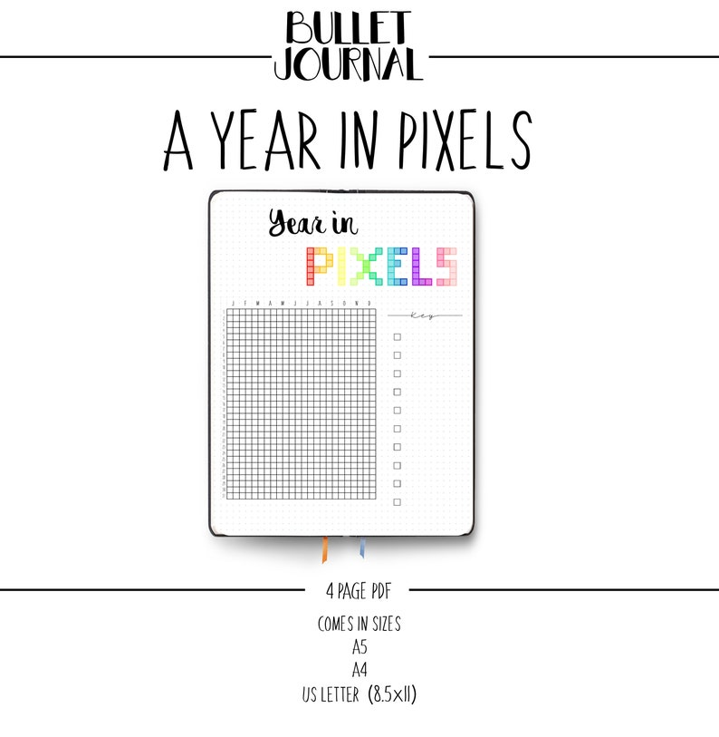 picture regarding Year in Pixels Printable called Bullet Magazine - Yr within Pixels - Temper Tracker BUJO Printable Dotted Grid Template