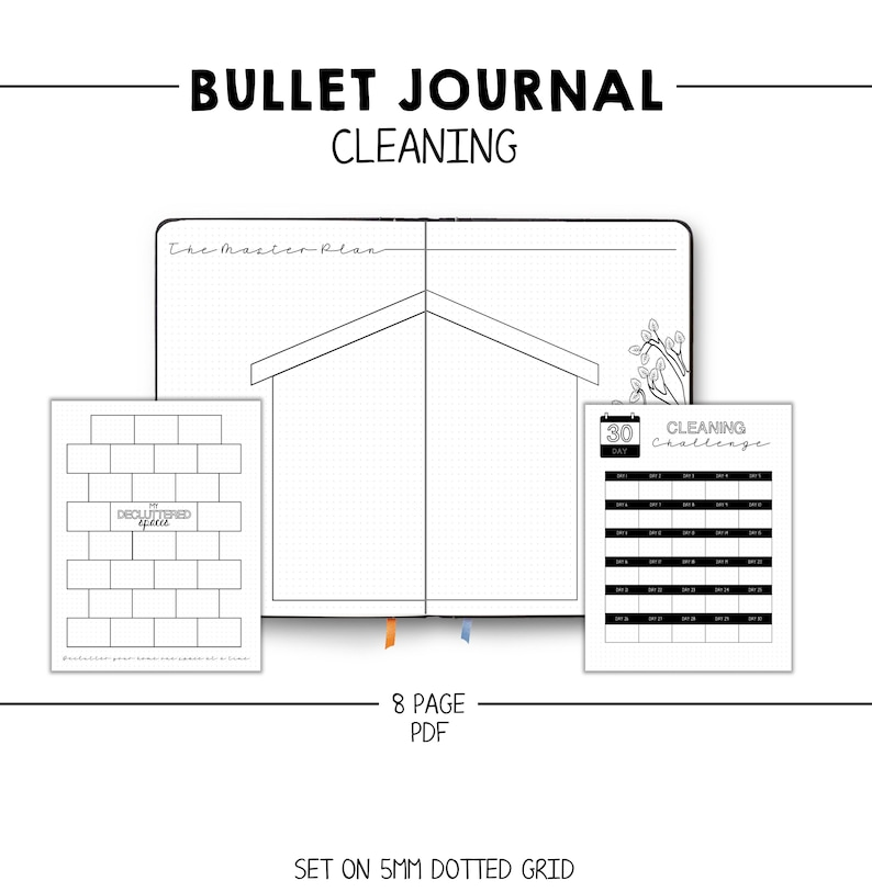 image relating to Bullet Journal Printable Pages called Bullet Magazine - Cleansing Printable Web pages - Cleansing Tracker - Decluttering - Business - Hinch - Dotted Grid - Lists - Troubles