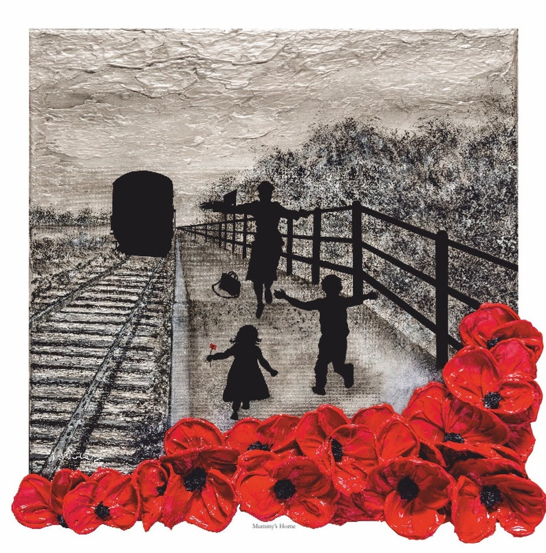 Mummy's Home from The War Poppy Collection by Remembrance Artist Jacqueline  Hurley  Military Fine Art Print