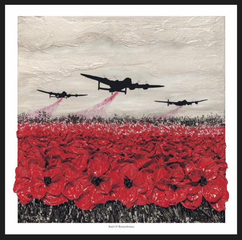 Raid Of Remembrance from the War Poppy Collection 1939-1945 by Remembrance  Artist Jacqueline Hurley WW2 Military Fine Art print