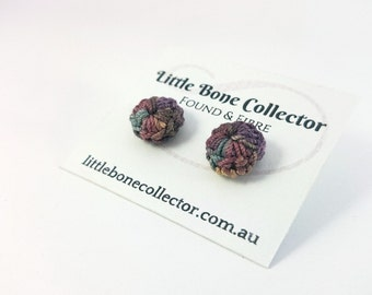 Dusty Purple & Pink crochet stud earrings - Surgical Steel
