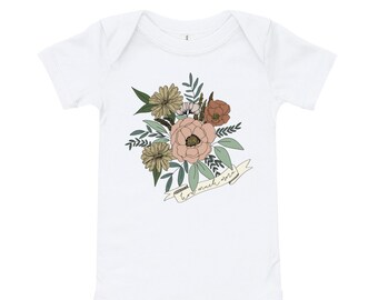 Baby Onesie Floral How Much More | Bodysuit | Christian Clothing | Wear Your Faith | Consider the Wildflowers | Luke 12