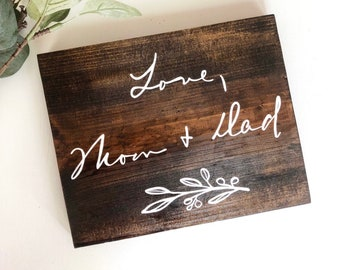 Hand Painted Handwritten Note Wooden Sign Heirloom | Original Handwriting