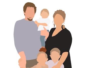 Digitally Hand Drawn Modern Portrait   Faceless Family Portrait   Custom Minimalist Portrait   Digital Print