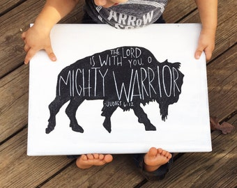 Hand Painted Canvas with Bible Verse Judges 6:12 The Lord is With You O Mighty Warrior Buffalo Silhouette
