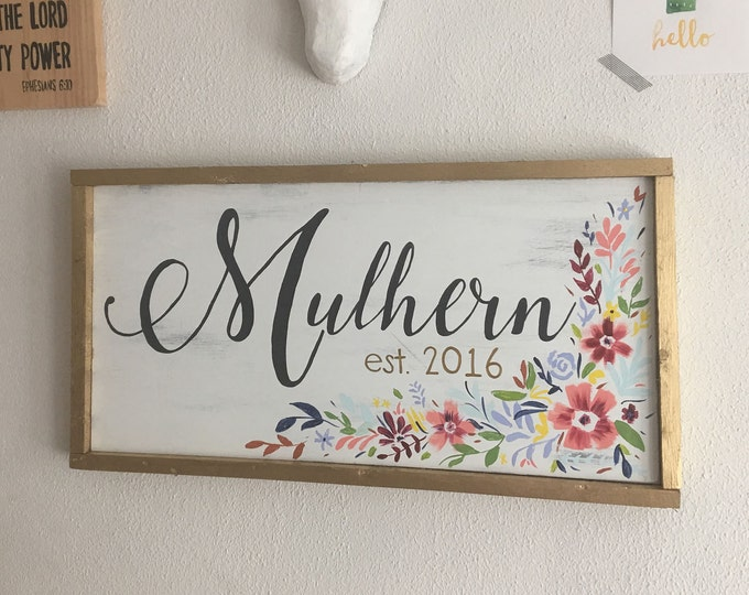 Hand Painted Framed Wooden Sign Custom Last Name and Established Date Anthro Inspired Floral