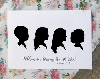 Custom Hand Drawn Hand Lettered Silhouette Print, Silhouette Portrait, Child's Silhouette Portrait, Mother's Day Gift Idea, Nursery