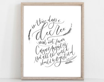 Digital Print The Christmas Story | Luke 1 | Bible Verse | Hand Lettered Scripture