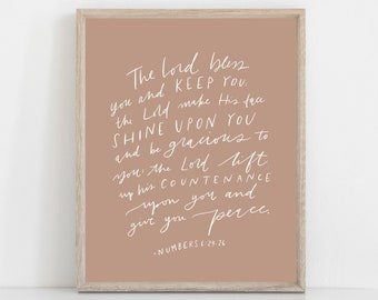 Hand Lettered Print Numbers 6:24-26 The Lord bless you and Keep you | HARD COPY | Free Shipping