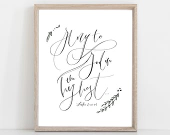 Digital Print Christmas | Glory to God in the Highest | Luke 2 | The Christmas Story | Hand Lettered Print