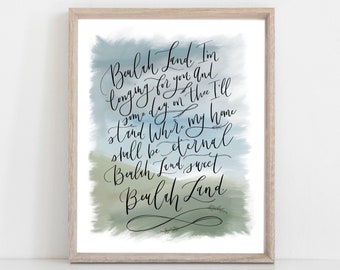 Digital Print Beulah Land | Hymn | Hymnal | Hand Lettered