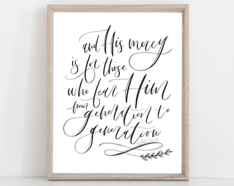 Digital Print Christmas | Digital Print | His mercy is for those who fear Him | Marys Song | Magnificat | Luke 1