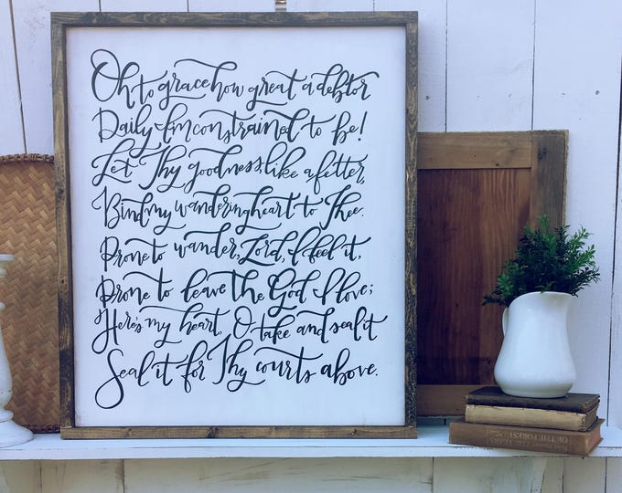 Hand Painted Hand Lettered Framed Wooden Sign Come Thou Fount Hymn