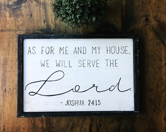 Hand Painted Wooden Framed Sign As for me and my house we will serve the Lord Joshua 24:15 Bible Verse Scripture