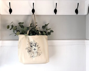 Floral How Much More Large organic tote bag |Large Tote | Christian Accessories | Wear Your Faith | Luke 12
