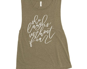 Ladies' Muscle Tank She Laughs without fear | proverbs 31 woman | scripture