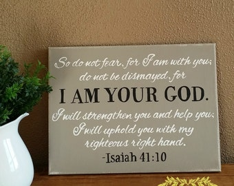 Hand Painted Canvas with Scripture Isaiah 41:10