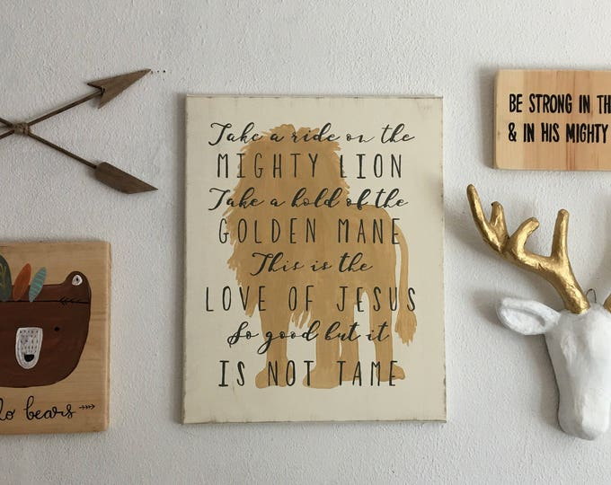 Hand Painted Canvas with Song Lyrics Andrew Peterson and Lion Silhouette Little Boy Heart Alive