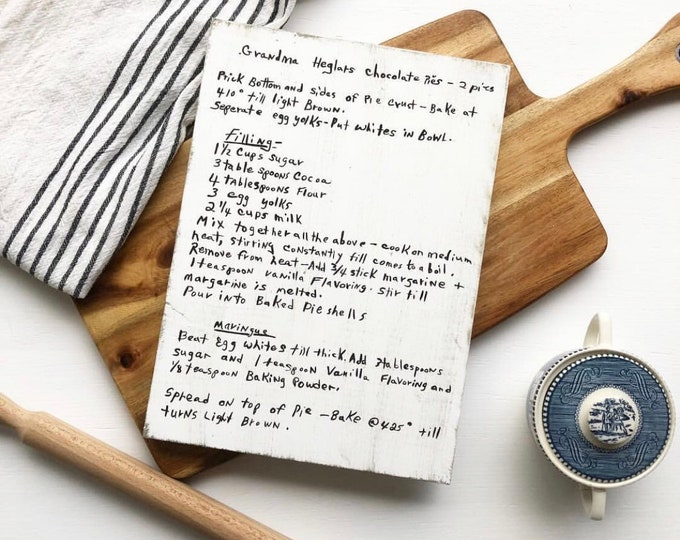 Hand Painted Handwritten Recipe Wooden Sign Heirloom | Grandma's Recipe | Mama's Recipe Handwriting