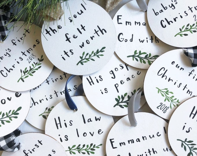 Round Wooden Hand Painted Chrsitmas Ornaments Babys First Christmas Our First Christmas Scripture Hymns
