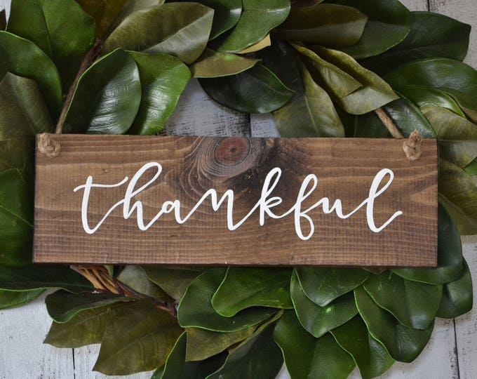 Hand Painted Wooden Door Hanger Wreath Sign Thankful