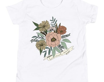 Youth Girls Short Sleeve T-Shirt Floral How Much More | Christian Clothing | Wear Your Faith | Consider the Wildflowers | Luke 12