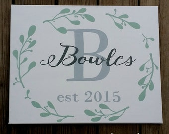 Hand Painted Canvas Customized with Name and Established Date