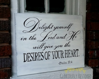 Hand Painted Canvas with Scripture Psalm 37:4