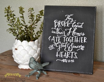 Hand Painted Canvas with Scripture Acts 2:46