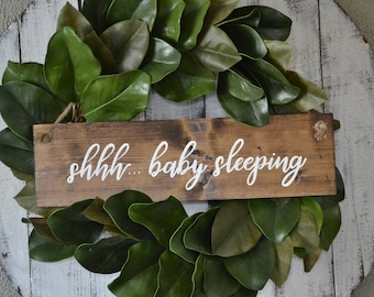 Hand Painted Wooden Door Hanger Wreath Sign Shhh ... Baby Sleeping | New Baby | Do Not Knock