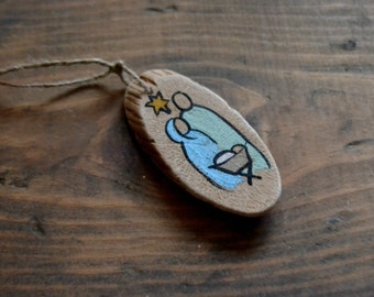 Driftwood Ornament with Hand Painted Nativity