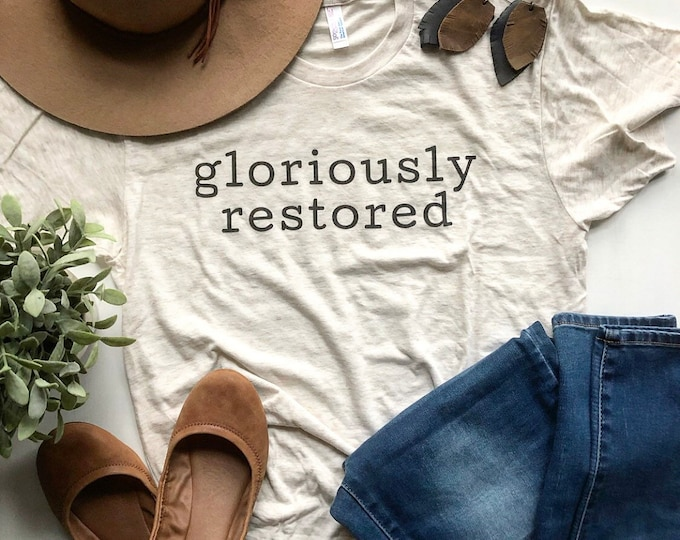 Featured listing image: Short Sleeve T Shirt Gloriously Restored Christian T Shirt Tri Blend Unisex